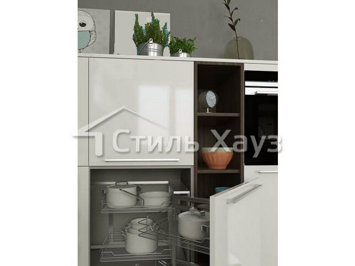 Кухня с фасадами из пластика и ЛДСП Пост снежный/ЛДСП пихта
