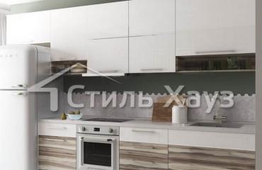 Кухня с фасадами Акрил белый/ЛДСП Самшит