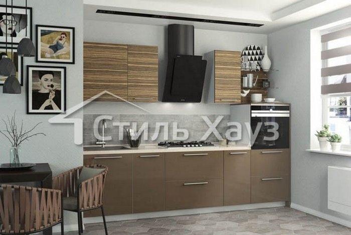 Кухня из пластика ЗЕБРАНО СВЕТЛЫЙ и КОРИЦА