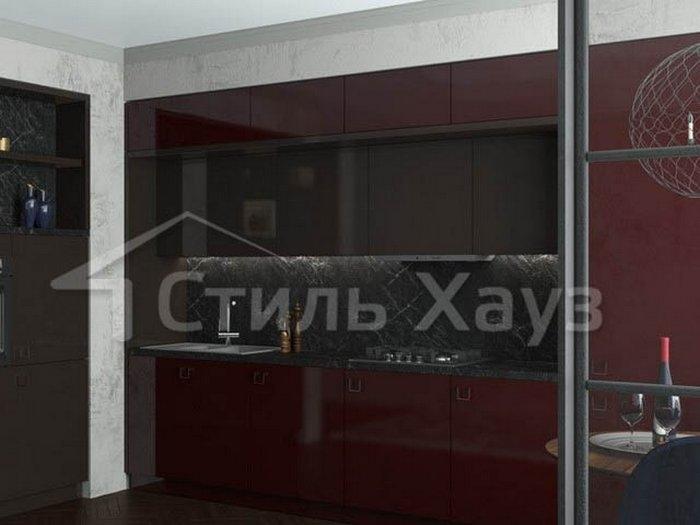 Кухня с фасадами Акрил вишня/Акрил трюфель