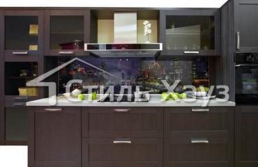Кухня с фасадами из рамочного МДФ Техно-1 ПП Каштан